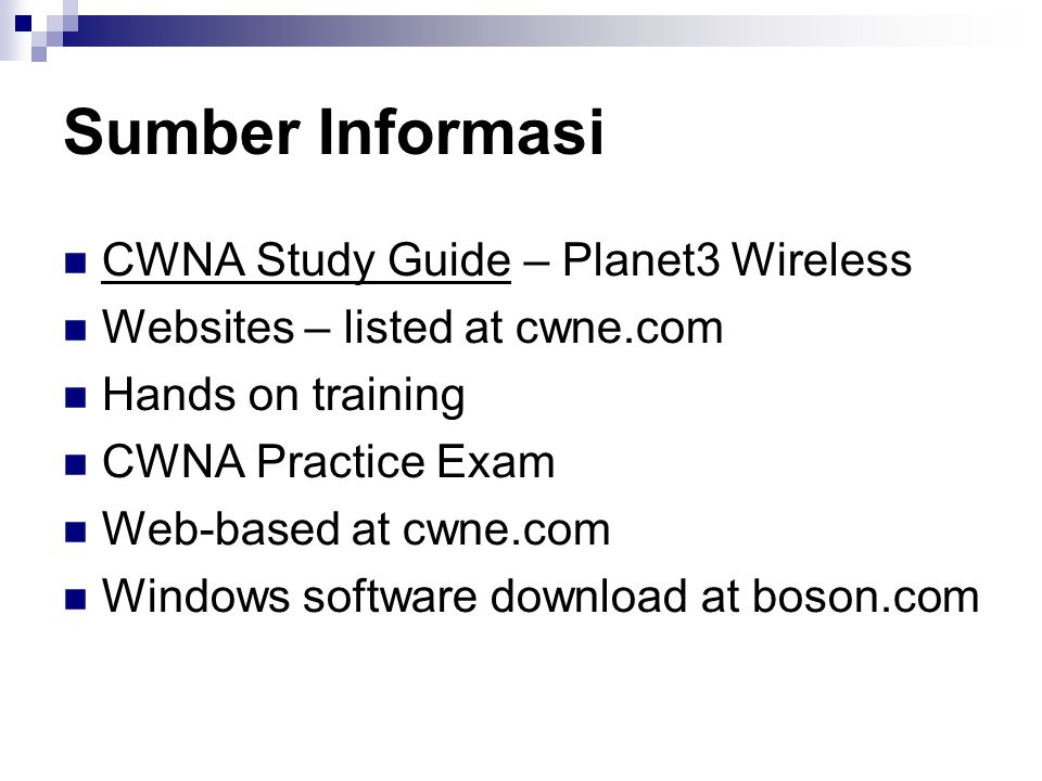 Sumber Informasi CWNA Study Guide – Planet3 Wireless