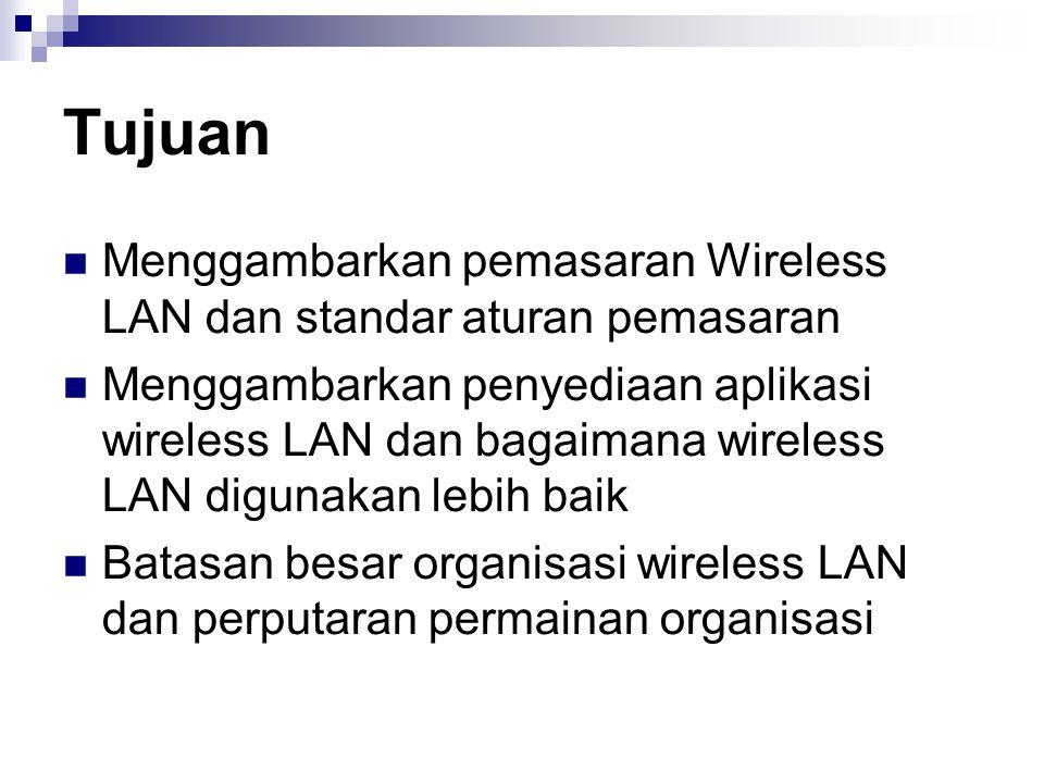 Tujuan Menggambarkan pemasaran Wireless LAN dan standar aturan pemasaran.