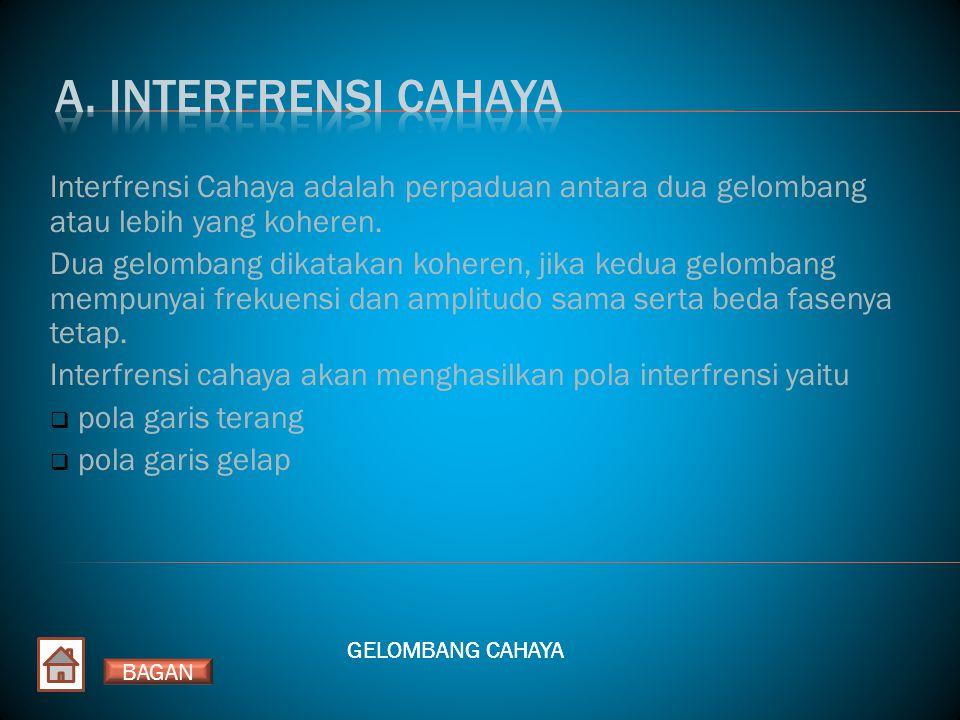A. INTERFRENSI CAHAYA Interfrensi Cahaya adalah perpaduan antara dua gelombang atau lebih yang koheren.