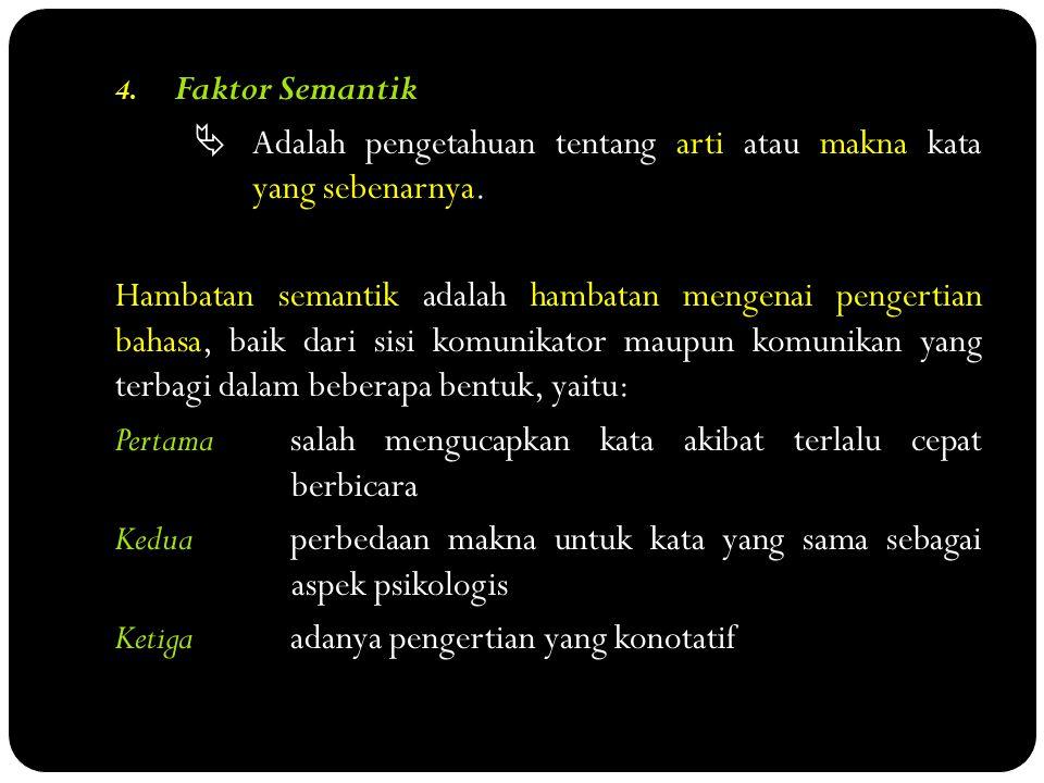 Faktor Semantik  Adalah pengetahuan tentang arti atau makna kata yang sebenarnya.
