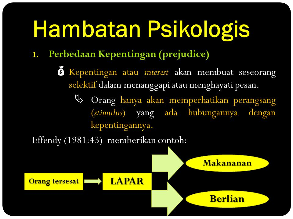 Hambatan Psikologis LAPAR Berlian Perbedaan Kepentingan (prejudice)