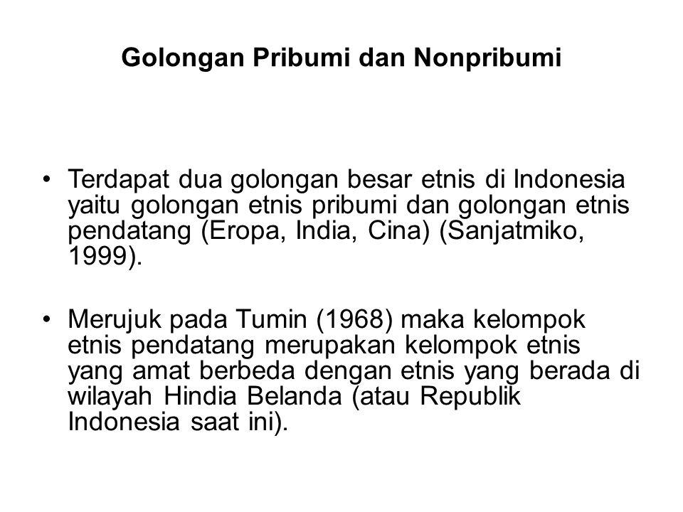 Golongan Pribumi dan Nonpribumi