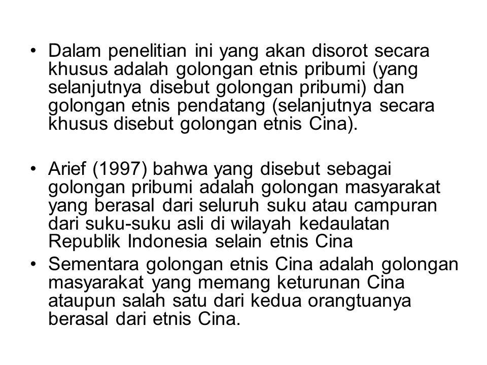 Dalam penelitian ini yang akan disorot secara khusus adalah golongan etnis pribumi (yang selanjutnya disebut golongan pribumi) dan golongan etnis pendatang (selanjutnya secara khusus disebut golongan etnis Cina).