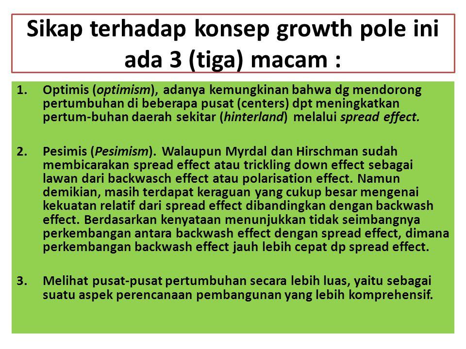 Sikap terhadap konsep growth pole ini ada 3 (tiga) macam :
