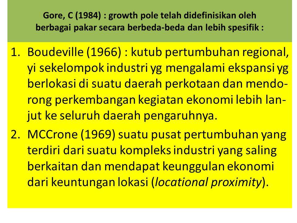 Gore, C (1984) : growth pole telah didefinisikan oleh berbagai pakar secara berbeda-beda dan lebih spesifik :
