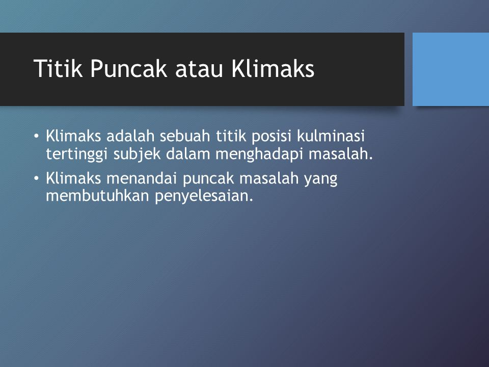 Titik Puncak atau Klimaks