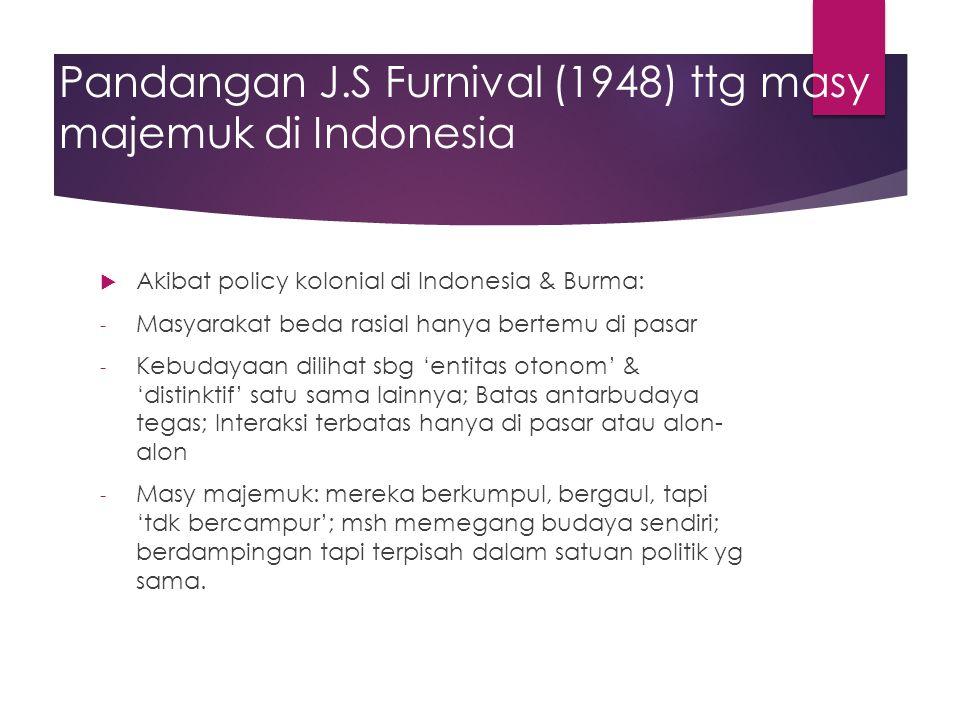 Pandangan J.S Furnival (1948) ttg masy majemuk di Indonesia