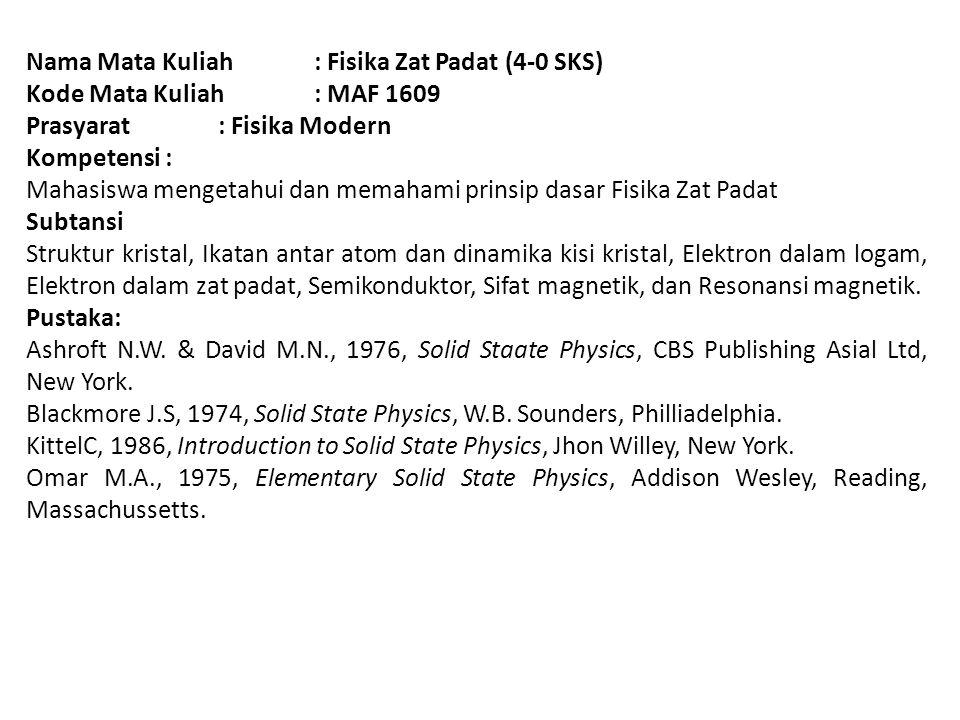 Nama Mata Kuliah : Fisika Zat Padat (4-0 SKS)
