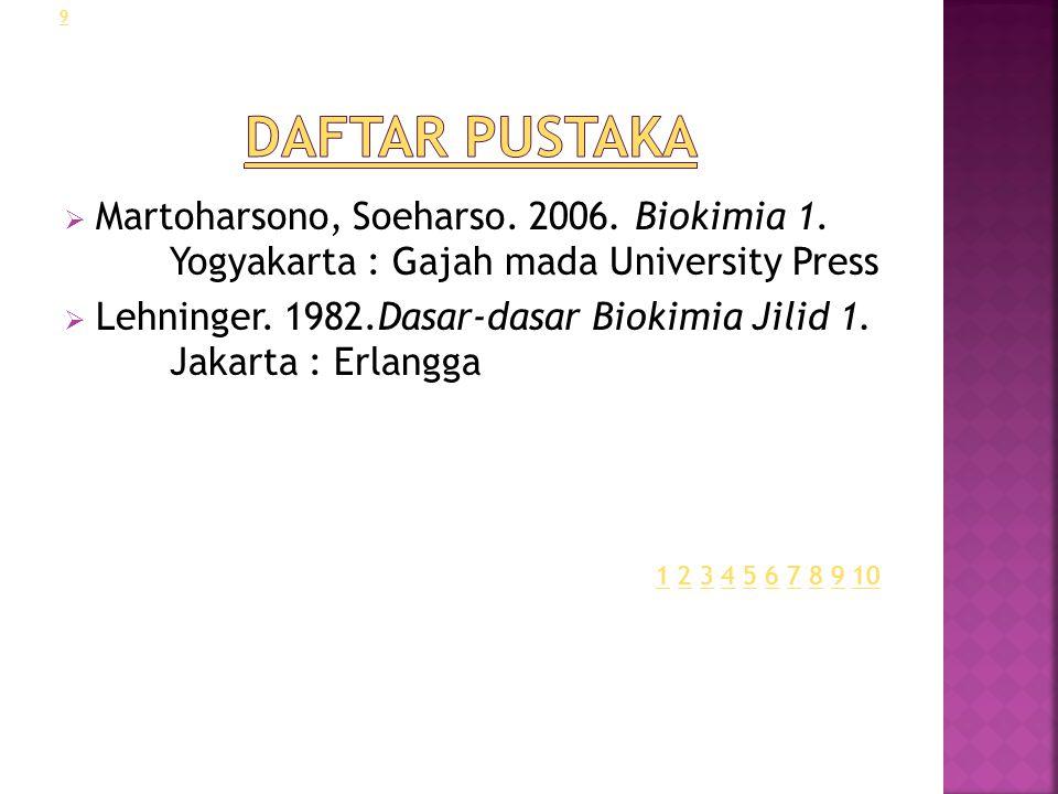 Daftar Pustaka Martoharsono, Soeharso. 2006. Biokimia 1. Yogyakarta : Gajah mada University Press.