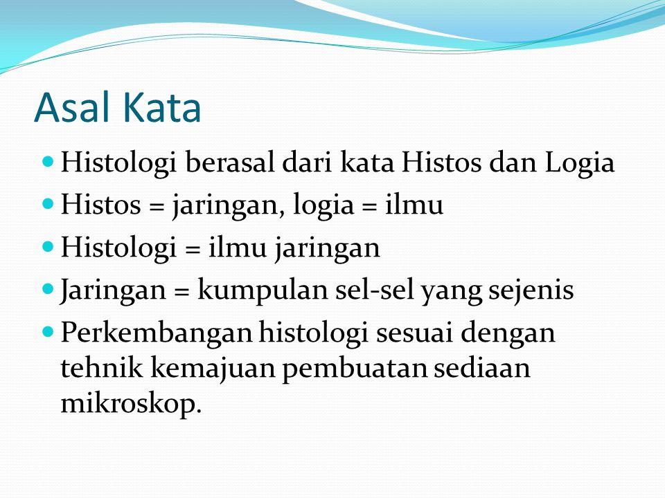 Asal Kata Histologi berasal dari kata Histos dan Logia