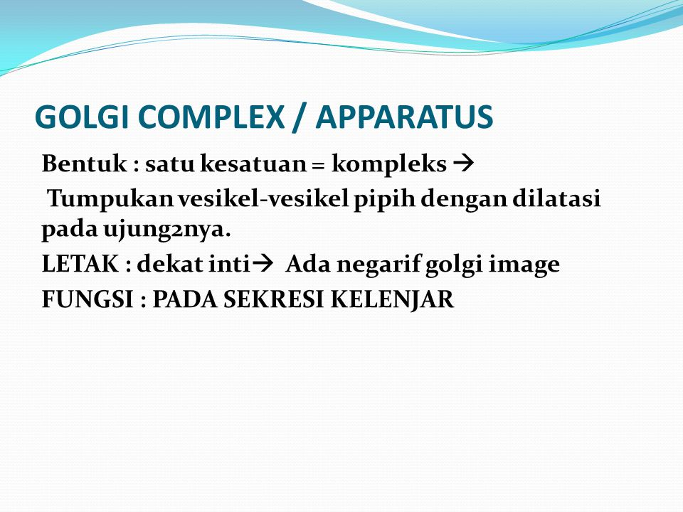 GOLGI COMPLEX / APPARATUS