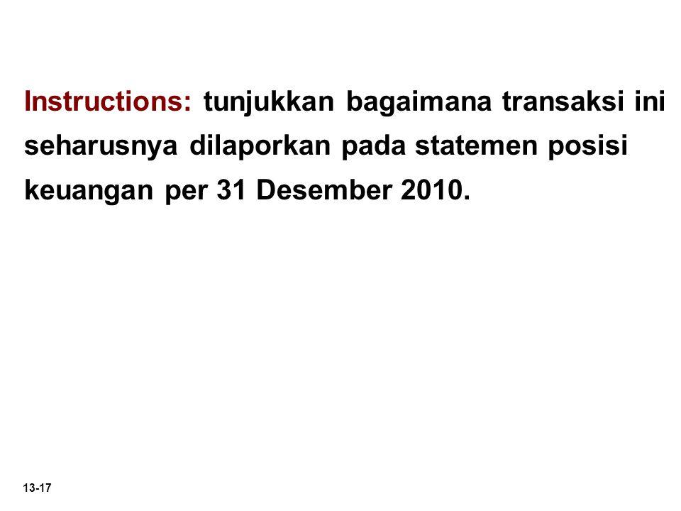 Instructions: tunjukkan bagaimana transaksi ini seharusnya dilaporkan pada statemen posisi keuangan per 31 Desember 2010.