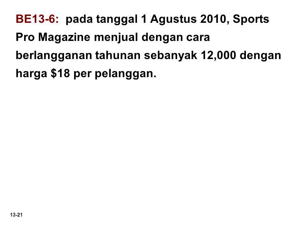 BE13-6: pada tanggal 1 Agustus 2010, Sports Pro Magazine menjual dengan cara berlangganan tahunan sebanyak 12,000 dengan harga $18 per pelanggan.