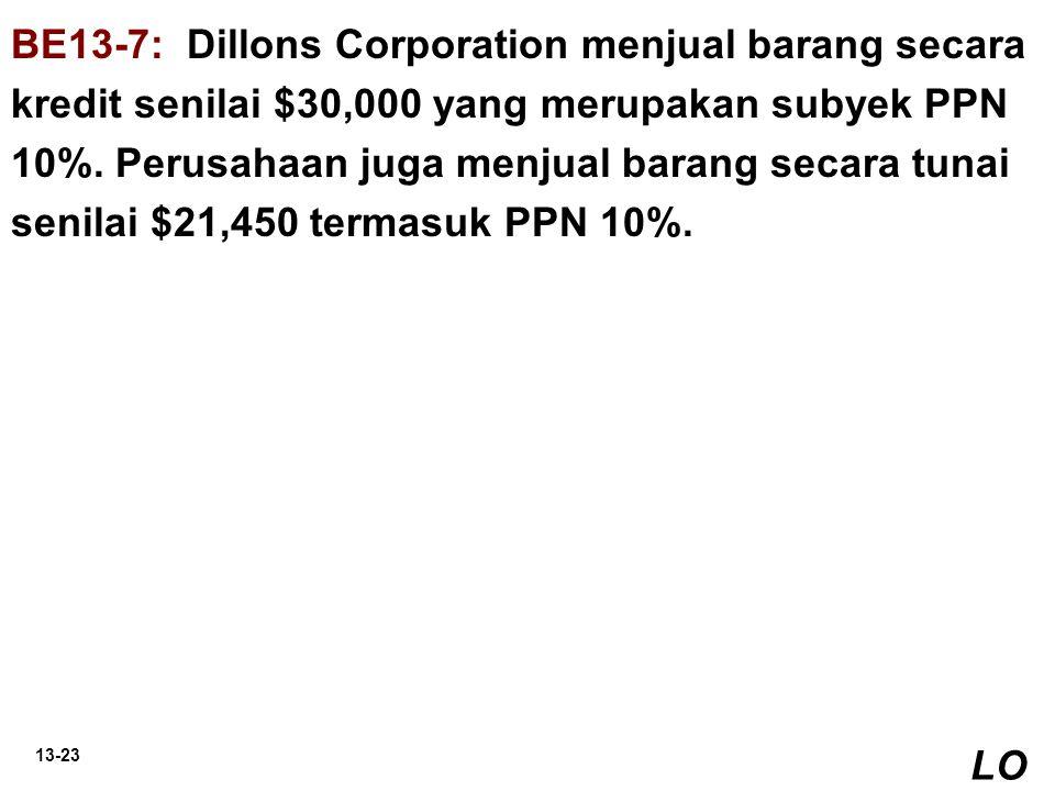 BE13-7: Dillons Corporation menjual barang secara kredit senilai $30,000 yang merupakan subyek PPN 10%. Perusahaan juga menjual barang secara tunai senilai $21,450 termasuk PPN 10%.