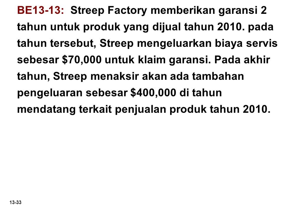 BE13-13: Streep Factory memberikan garansi 2 tahun untuk produk yang dijual tahun 2010.