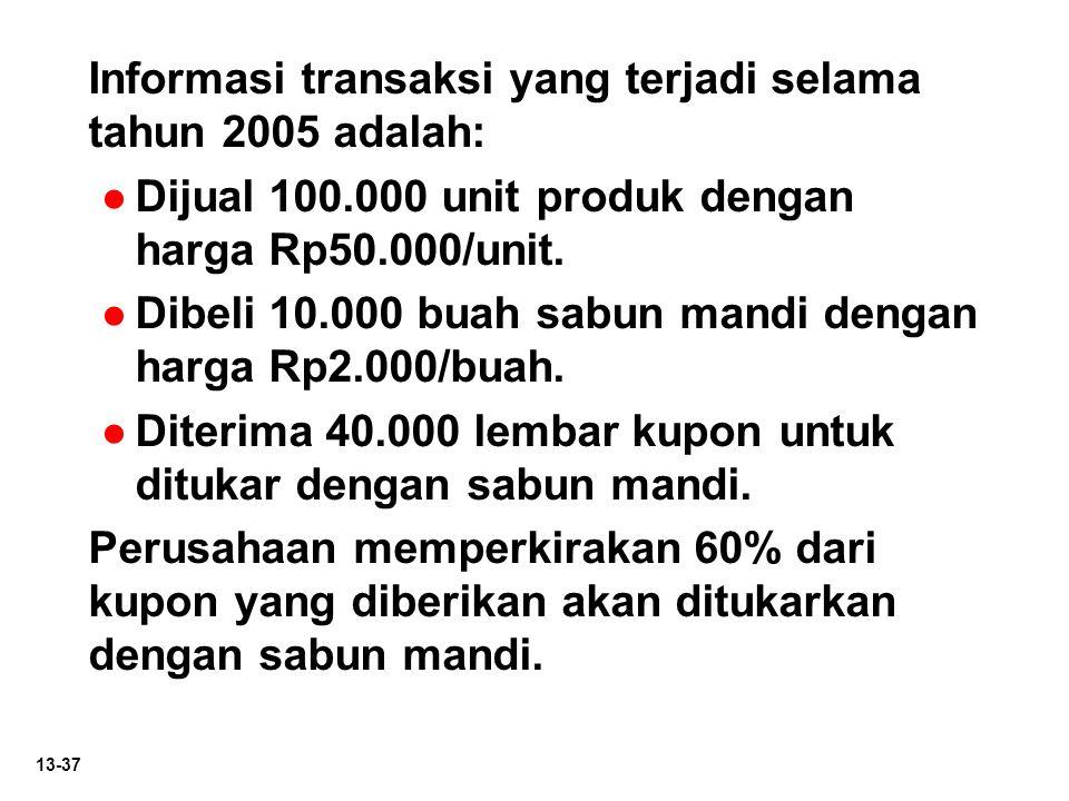 Informasi transaksi yang terjadi selama tahun 2005 adalah: