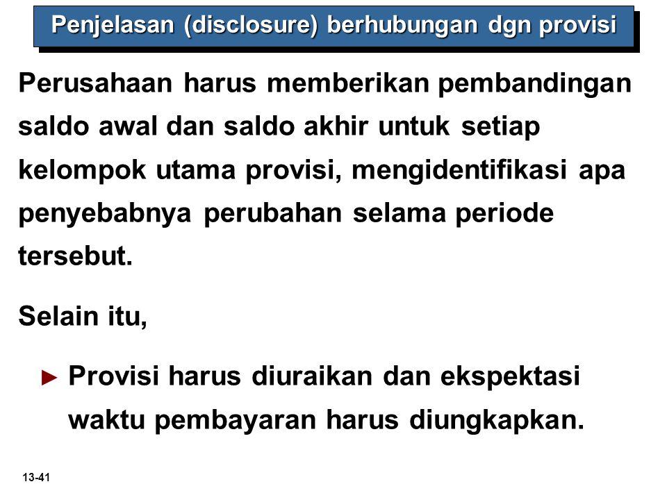 Penjelasan (disclosure) berhubungan dgn provisi