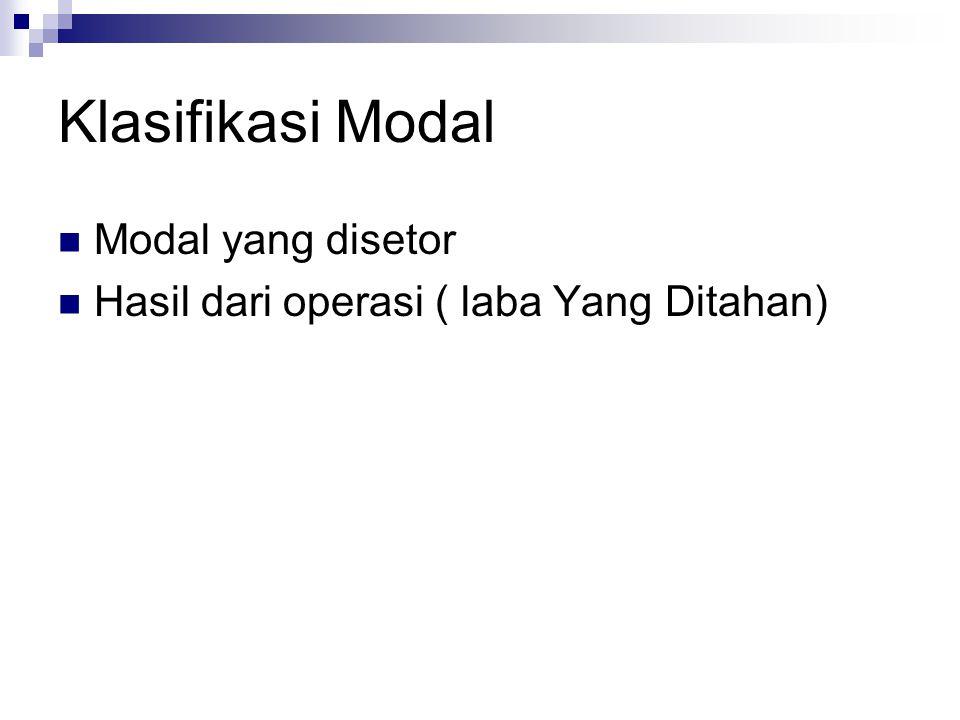 Klasifikasi Modal Modal yang disetor