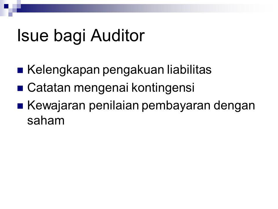 Isue bagi Auditor Kelengkapan pengakuan liabilitas