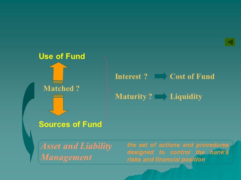 Asset and Liability Management Use of Fund Interest Cost of Fund