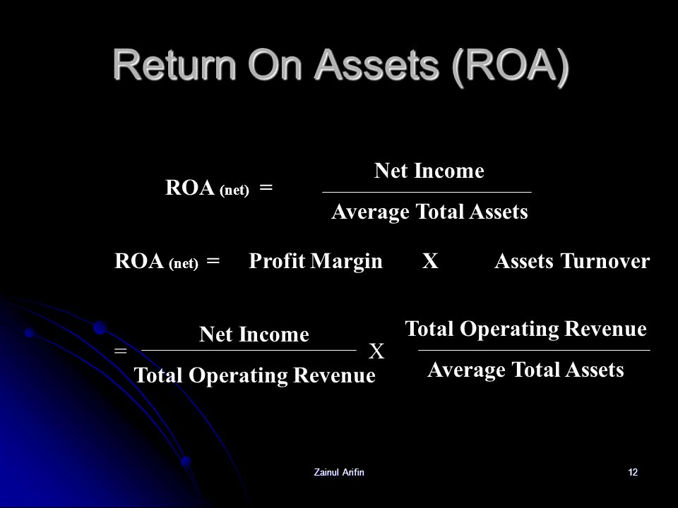 Return On Assets (ROA) Net Income Average Total Assets ROA (net) =
