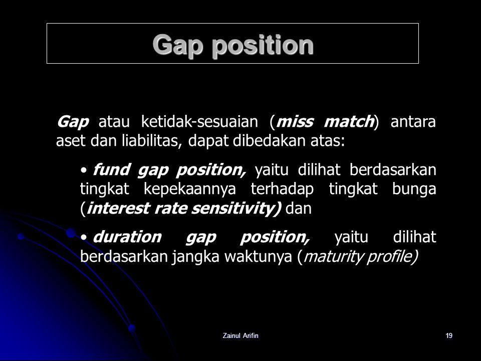 Gap position Gap atau ketidak-sesuaian (miss match) antara aset dan liabilitas, dapat dibedakan atas: