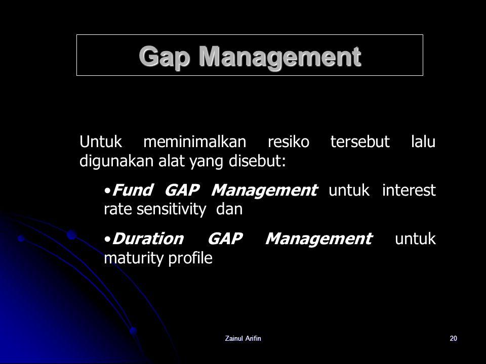 Gap Management Untuk meminimalkan resiko tersebut lalu digunakan alat yang disebut: Fund GAP Management untuk interest rate sensitivity dan.