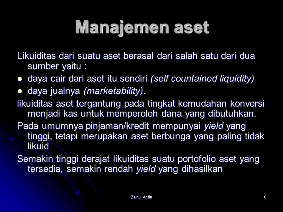Manajemen aset Likuiditas dari suatu aset berasal dari salah satu dari dua sumber yaitu :