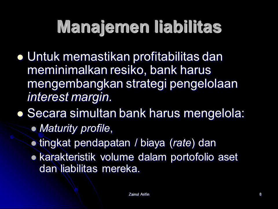 Manajemen liabilitas Untuk memastikan profitabilitas dan meminimalkan resiko, bank harus mengembangkan strategi pengelolaan interest margin.
