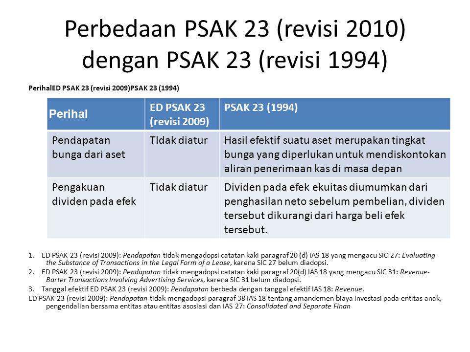 Perbedaan PSAK 23 (revisi 2010) dengan PSAK 23 (revisi 1994)