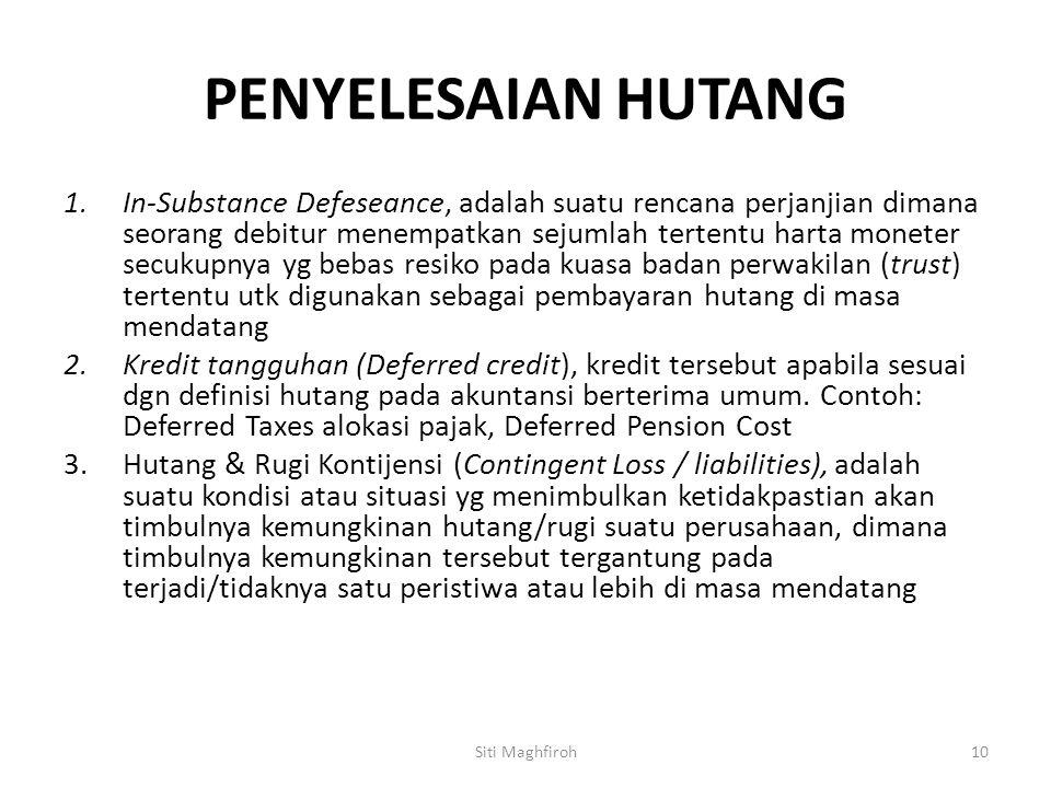 PENYELESAIAN HUTANG