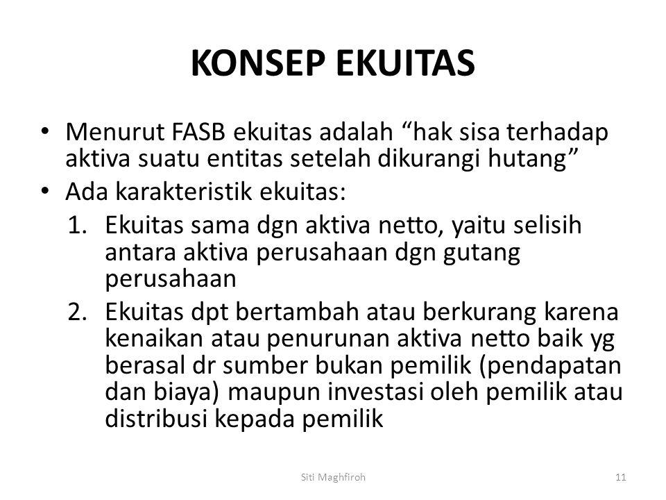 KONSEP EKUITAS Menurut FASB ekuitas adalah hak sisa terhadap aktiva suatu entitas setelah dikurangi hutang