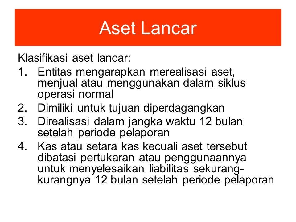 Aset Lancar Klasifikasi aset lancar: