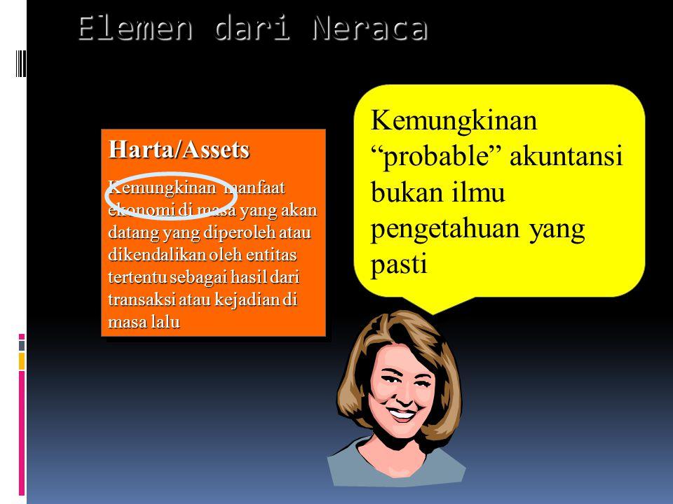 Elemen dari Neraca Kemungkinan probable akuntansi bukan ilmu pengetahuan yang pasti. Harta/Assets.