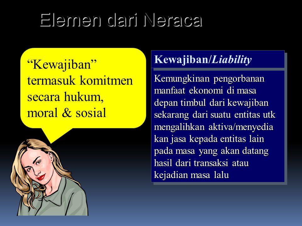 Elemen dari Neraca Kewajiban termasuk komitmen secara hukum, moral & sosial. Kewajiban/Liability.