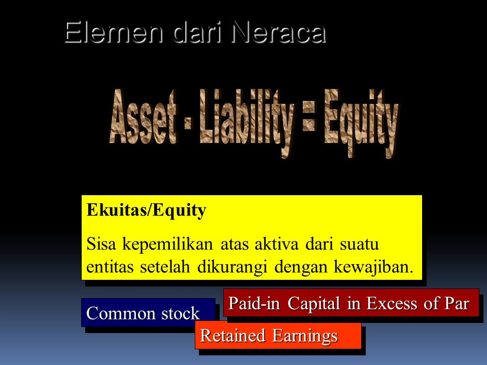 Elemen dari Neraca Asset - Liability = Equity Ekuitas/Equity