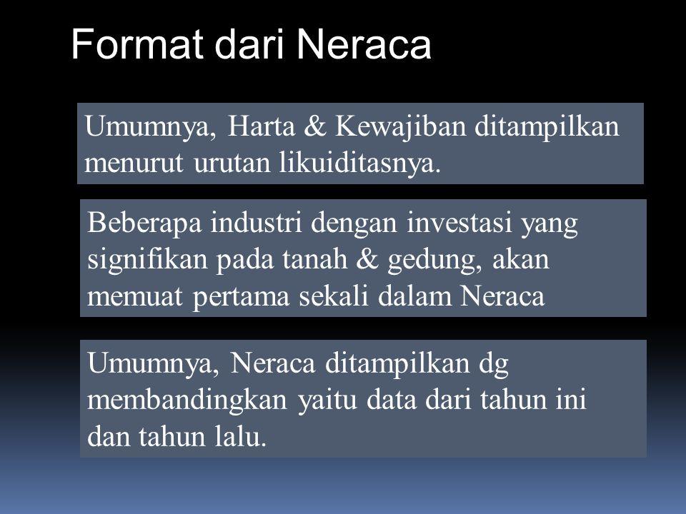 Format dari Neraca Umumnya, Harta & Kewajiban ditampilkan menurut urutan likuiditasnya.