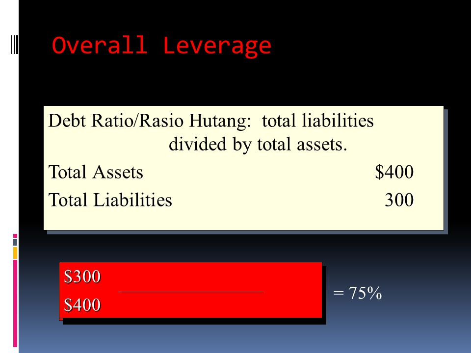 Overall Leverage Debt Ratio/Rasio Hutang: total liabilities divided by total assets. Total Assets $400 Total Liabilities 300
