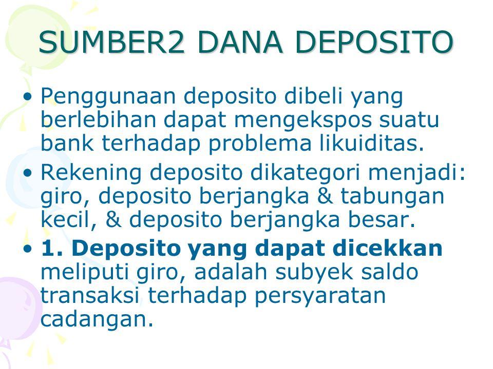 SUMBER2 DANA DEPOSITO Penggunaan deposito dibeli yang berlebihan dapat mengekspos suatu bank terhadap problema likuiditas.