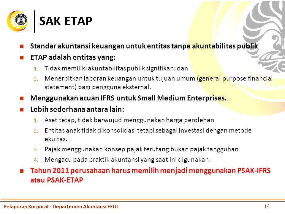 SAK ETAP Standar akuntansi keuangan untuk entitas tanpa akuntabilitas publik. ETAP adalah entitas yang: