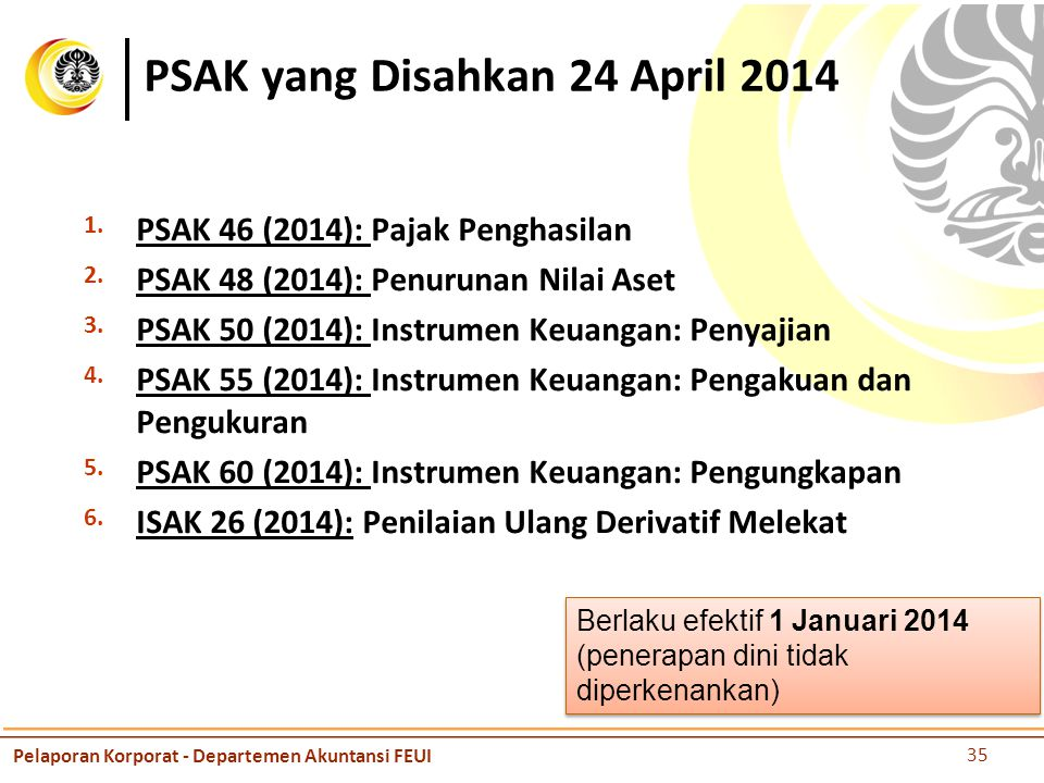 PSAK yang Disahkan 24 April 2014