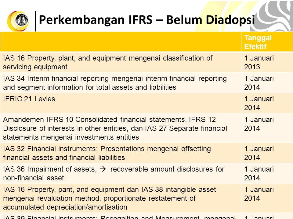Perkembangan IFRS – Belum Diadopsi