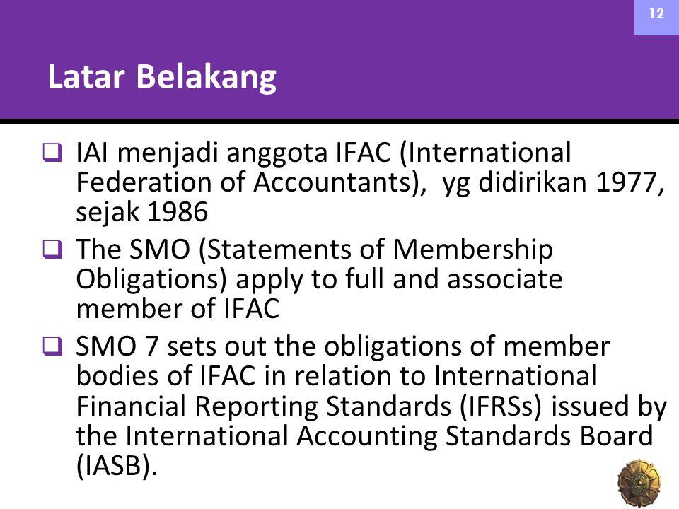 Latar Belakang IAI menjadi anggota IFAC (International Federation of Accountants), yg didirikan 1977, sejak 1986.