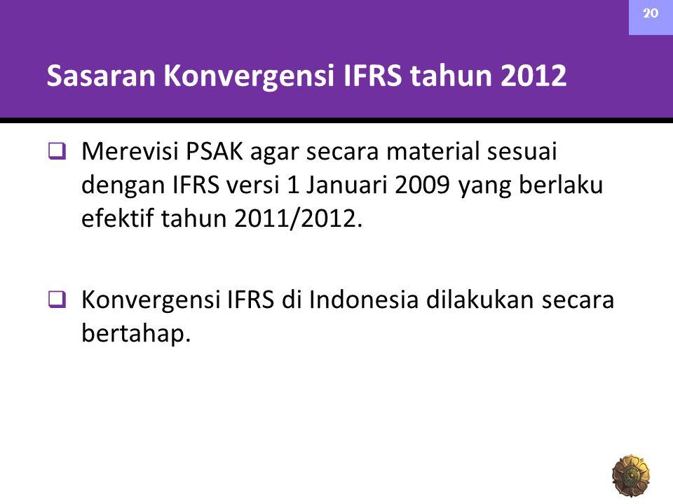 Sasaran Konvergensi IFRS tahun 2012