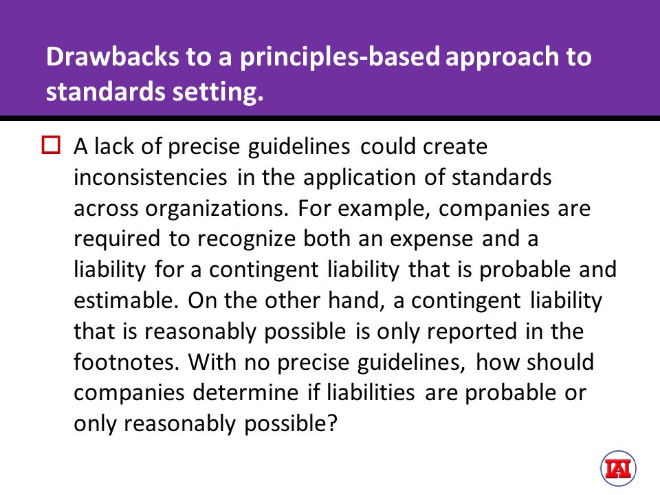 Drawbacks to a principles-based approach to standards setting.