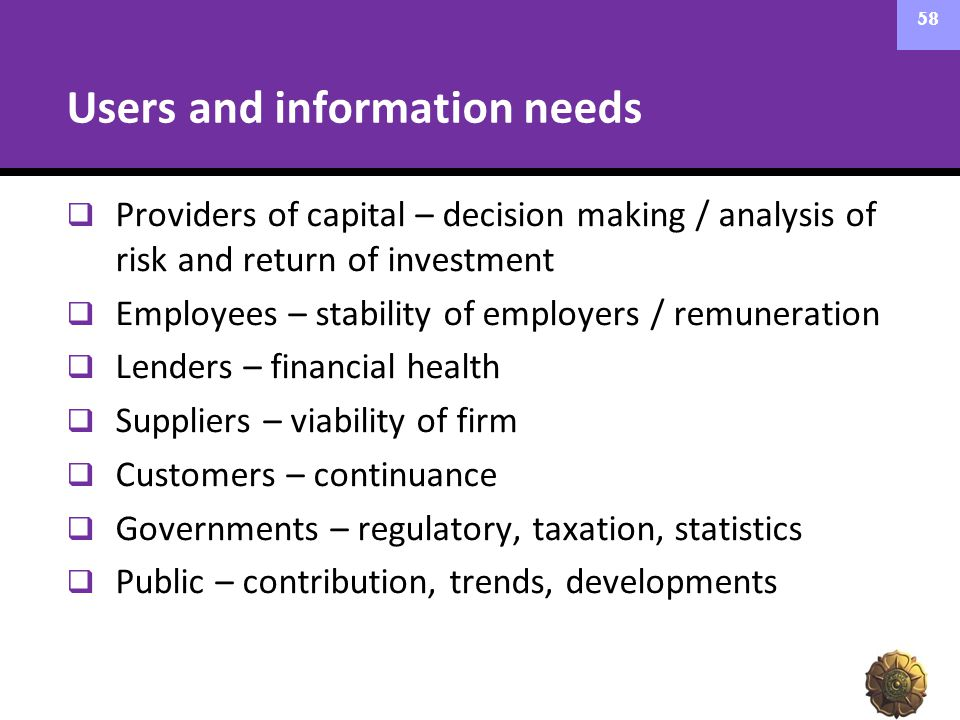 Users and information needs