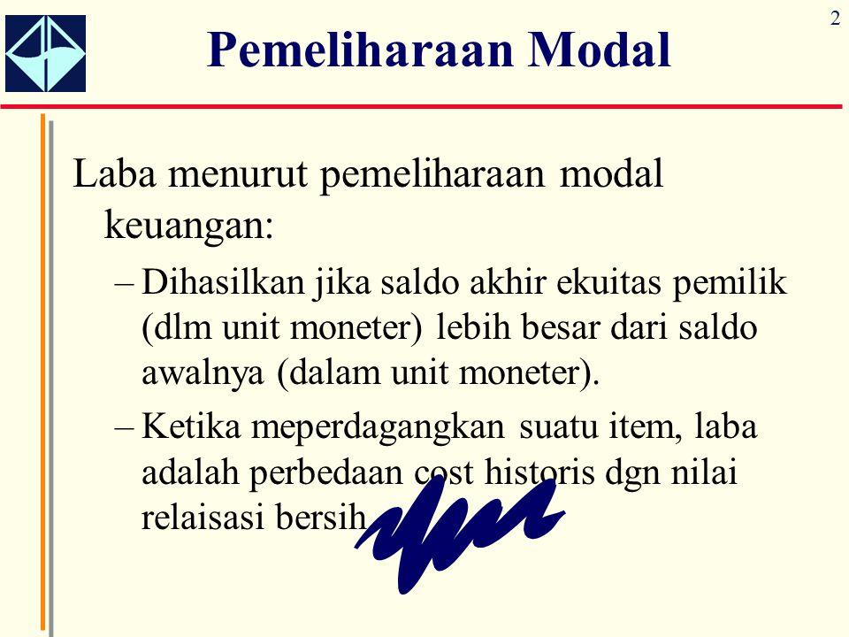 Pemeliharaan Modal Laba menurut pemeliharaan modal keuangan: