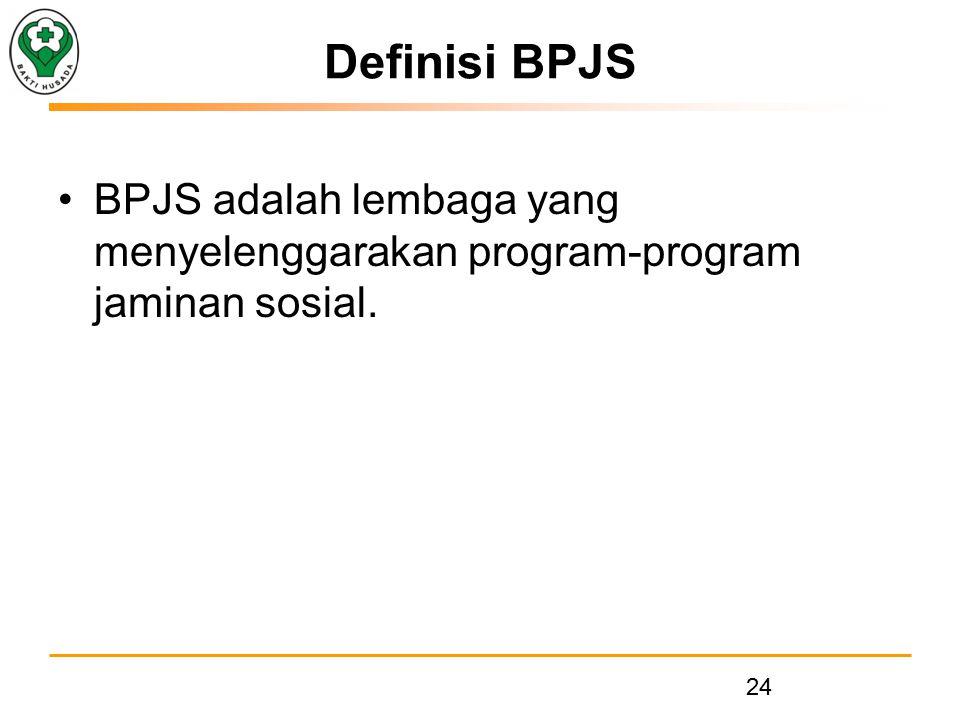 Definisi BPJS BPJS adalah lembaga yang menyelenggarakan program-program jaminan sosial.