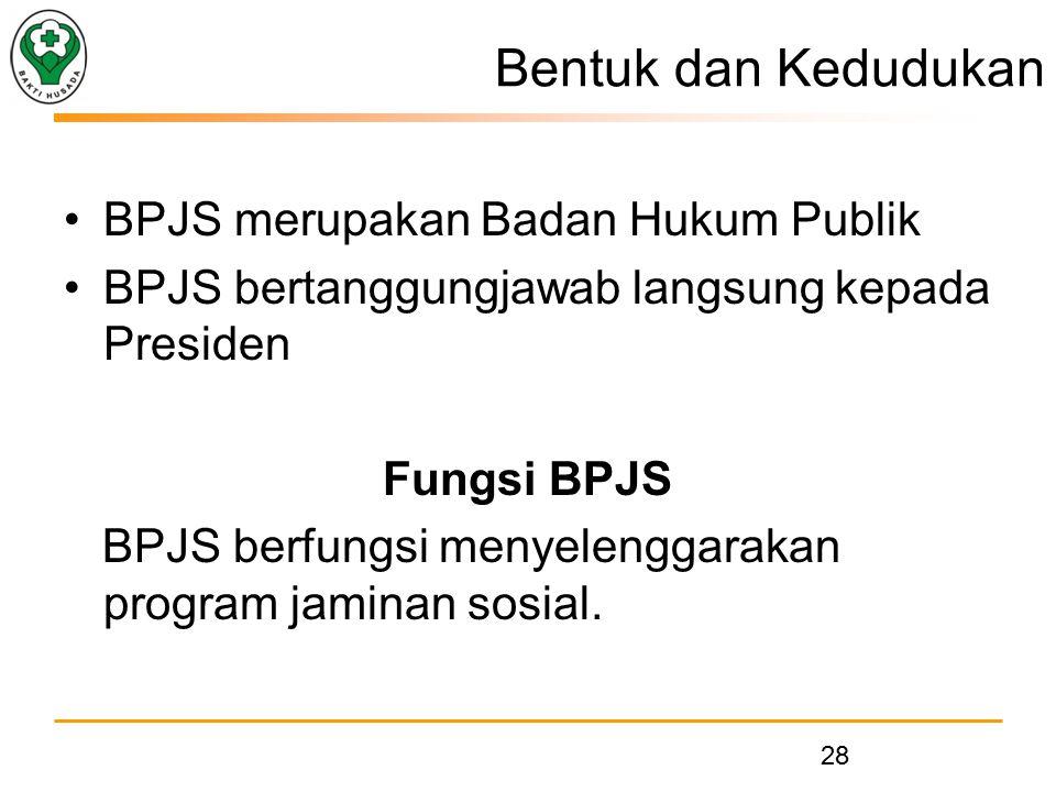 Bentuk dan Kedudukan BPJS merupakan Badan Hukum Publik