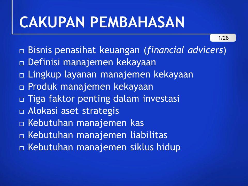 CAKUPAN PEMBAHASAN Bisnis penasihat keuangan (financial advicers)